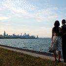PRESIDENT BARACK OBAMA & MICHELLE OBSERVE CHICAGO SKYLINE - 8X10 PHOTO (DD-073)