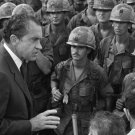 PRESIDENT RICHARD NIXON VISITS WITH TROOPS IN VIETNAM - 8X10 PHOTO (BB-645)