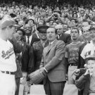 PRESIDENT NIXON THROWS OUT BASEBALL OPENING DAY IN 1969 - 8X10 PHOTO (AA-039)
