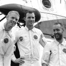 APOLLO 9 ASTRONAUTS IN FRONT OF RECOVERY HELICOPTER - 8X10 NASA PHOTO (EP-452)