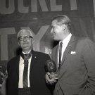DR. WERNHER VON BRAUN WITH HERMANN OBERTH HOLDS AWARD - 8X10 NASA PHOTO (EP-327)