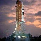 APOLLO - SOYUZ SATURN 1B ON PAD DURING COUNTDOWN TEST - 8X10 NASA PHOTO (EP-167)
