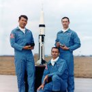APOLLO 7 ASTRONAUTS POSE WITH A SATURN I-B MODEL- 8X10 NASA PHOTO (BB-024)