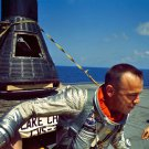 MERCURY ASTRONAUT ALAN SHEPARD ON DECK OF USS LAKE CHAMPLAIN 8X10 PHOTO (AA-797)