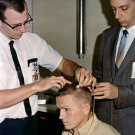 GEMINI 7 ASTRONAUT FRANK BORMAN HAS ELECTRODES ON SCALP - 8X10 PHOTO (AA-626)