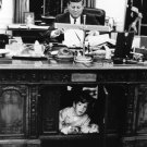 PRESIDENT JOHN F. KENNEDY & SON AT RESOLUTE DESK OVAL OFFICE 8X10 PHOTO (AA-195)