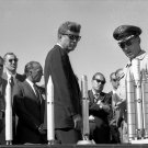PRESIDENT JOHN F. KENNEDY ON SPACE INDUSTRY TOUR IN 1962 - 8X10 PHOTO (AA-223)