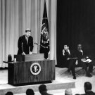 PRESIDENT JOHN F. KENNEDY HOLDS FIRST PRESS CONFERENCE - 8X10 PHOTO (BB-324)