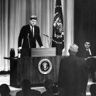 PRESIDENT JOHN F. KENNEDY AT HIS FIRST PRESS CONFERENCE - 8X10 PHOTO (BB-327)
