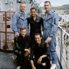 GEMINI 8 ASTRONAUTS NEIL ARMSTRONG DAVE SCOTT W/ RESCUE MEN 8X10 PHOTO (AA-545)