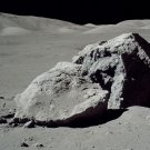 APOLLO 17 ASTRONAUT HARRISON SCHMITT NEXT TO HUGE BOULDER - 8X10 PHOTO (AA-152)