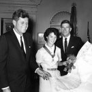 PRESIDENT JOHN F. KENNEDY WITH PILOT BETTY MILLER - 8X10 PHOTO (AA-366)