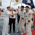 GEMINI 12 ASTRONAUTS JIM LOVELL BUZZ ALDRIN ABOARD USS WASP 8X10 PHOTO (AA-417)