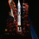NIGHTTIME SHOT GEMINI-TITAN SPACECRAFT ON PAD IN 1964 - 8X10 NASA PHOTO (AA-449)