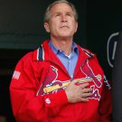 GEORGE W. BUSH WEARING A CARDINALS JACKET AT BUSCH STADIUM - 8X10 PHOTO (AA-215)