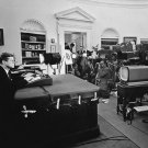 PRESIDENT JOHN F. KENNEDY ANNOUNCES NAVAL BLOCKADE OF CUBA - 8X10 PHOTO (AA-217)