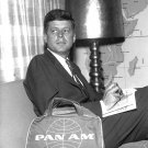 JOHN F. KENNEDY AWAITS FLIGHT IN PAN AM'S FIRST CLASS LOUNGE 8X10 PHOTO (AA-933)