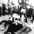 CASSIUS CLAY MUHAMMAD ALI CELEBRATES MOCK VICTORY BEATLES - 8X10 PHOTO (ZY-159)