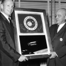 NEIL ARMSTRONG PRESENTS FLAG FLOWN ON THE GEMINI 8 MISSION - 8X10 PHOTO (AA-554)
