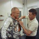 ASTRONAUT JOHN GLENN SUITS UP BEFORE FRIENDSHIP 7 - 8X10 NASA PHOTO (AA-493)