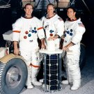 APOLLO 15 ASTRONAUTS POSE FOR PHOTO WITH SUB-SATELLITE 8X10 NASA PHOTO (AA-827)