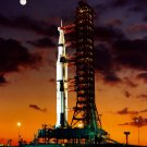 EARLY MORNING VIEW OF THE APOLLO 4 SATURN V ON PAD - 8X10 NASA PHOTO (AA-532)