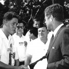 PRESIDENT JOHN F. KENNEDY GREETS BILL CLINTON AGE 16 IN 1963 - 8X10 PHOTO (AA-852)