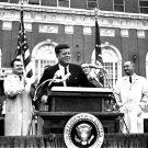 PRESIDENT JOHN F KENNEDY ADDRESSES CROWD OUTSIDE HOTEL TEXAS 8X10 PHOTO (AA-735)