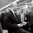 DR. WERNHER VON BRAUN ASKS QUESTION ABOUT WELDING IN 1967 - 8X10 PHOTO (AA-737)