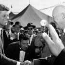 SENATOR JOHN F KENNEDY GREETS PRESIDENT DWIGHT D EISENHOWER 8X10 PHOTO (BB-567)