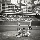 STAN MUSIAL SLIDES INTO THIRD BASE AT SPORTSMAN'S PARK - 8X10 PHOTO (EP-616)