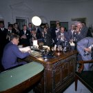 PRES. JOHN F. KENNEDY SIGNS ORDER IMPLEMENTING CUBA BLOCKADE 8X10 PHOTO (BB-529)