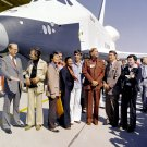 STAR TREK CAST MEMBERS NEXT TO SPACE SHUTTLE ENTERPRISE 8X10 NASA PHOTO (EP-532)