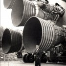 WERNHER VON BRAUN STANDS BY ENGINES OF THE SATURN V - 8X10 NASA PHOTO (EP-346)
