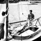 JOHN F. KENNEDY AND EDWARD M. KENNEDY IN A SAILBOAT 1946 - 8X10 PHOTO (BB-824)