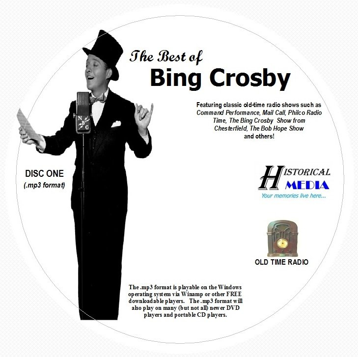 BEST OF BING CROSBY - 266 Shows Old Time Radio In MP3 Format OTR On 3 CDs