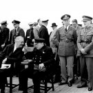 PRESIDENT FRANKLIN ROOSEVELT WINSTON CHURCHILL MEET AT SEA - 8X10 PHOTO (BB-054)