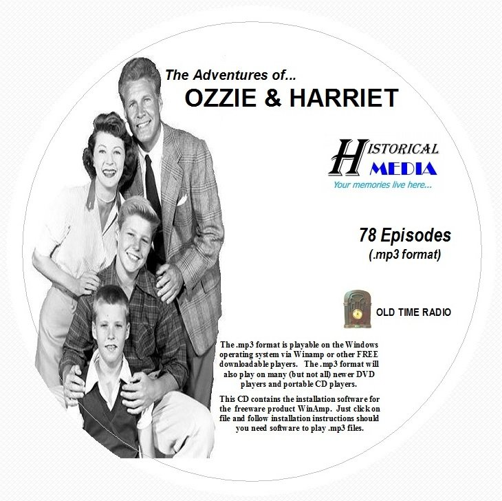 ADVENTURES OF OZZIE & HARRIET - 78 Episodes - Old Time Radio OTR In MP3 On 1 CD