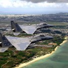 USAF F-15C EAGLES FLY IN FORMATION OVER KADENA AIR BASE - 8X10 PHOTO (EP-110)