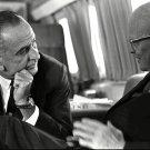 PRESIDENT LYNDON B JOHNSON MEETS WITH DWIGHT D EISENHOWER - 8X10 PHOTO (BB-977)