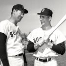 TED WILLIAMS & CARL YASTRZEMSKI BEFORE GAME IN 1963 - 8X10 SPORTS PHOTO (DD-135)