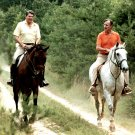 RONALD REAGAN & GEORGE H.W. BUSH ON HORSES AT CAMP DAVID - 8X10 PHOTO (EE-052)