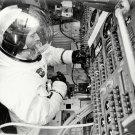 APOLLO 10 ASTRONAUT JOHN YOUNG IN COMMAND MODULE SIM - 8X10 NASA PHOTO (ZZ-611)