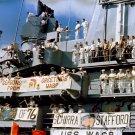 USS WASP CREWMEN AWAIT RECOVERY OF GEMINI 6A - 8X10 NASA PHOTO (AA-374)
