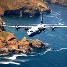LOCKHEED MARTIN C-130-J HERCULES NEAR SANTA CRUZ ISLAND - 8X10 PHOTO (EP-585)