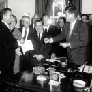 JOHN F. KENNEDY SIGNS PEACE CORPS BILL w/ SARGENT SHRIVER - 8X10 PHOTO (AB-143)