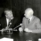 WERNHER VON BRAUN & EBERHARD REES AT A PRESS CONFERENCE 8X10 NASA PHOTO (DA-234)