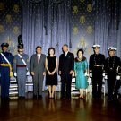 PRESIDENT JOHN F KENNEDY WITH JACKIE AND OTHERS IN BLUE ROOM 8X10 PHOTO (BB-491)