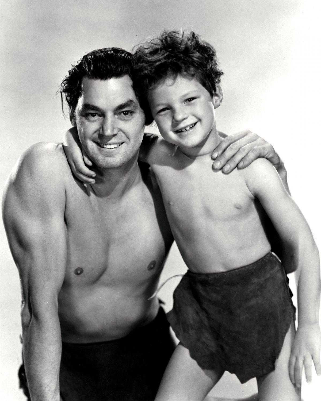 "JOHNNY WEISSMULLER & JOHNNY SHEFFIELD ""TARZAN FINDS A SON"" - 8X10 PHOTO (AB-160)"
