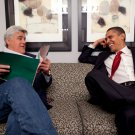PRESIDENT BARACK OBAMA WITH JAY LENO - 8X10 PHOTO (EE-132)